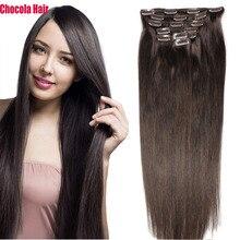 Chocola, бразильские волосы remy на всю голову, 7 шт. в наборе, 120 г, 16-28 дюймов, натуральные прямые человеческие волосы для наращивания на заколках