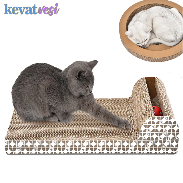 Cat Scratcher Board Corrugated Paper Toys With Bells Catnip Cat Scratcher Toy Grinding Nails Protect Furniture Pet Products