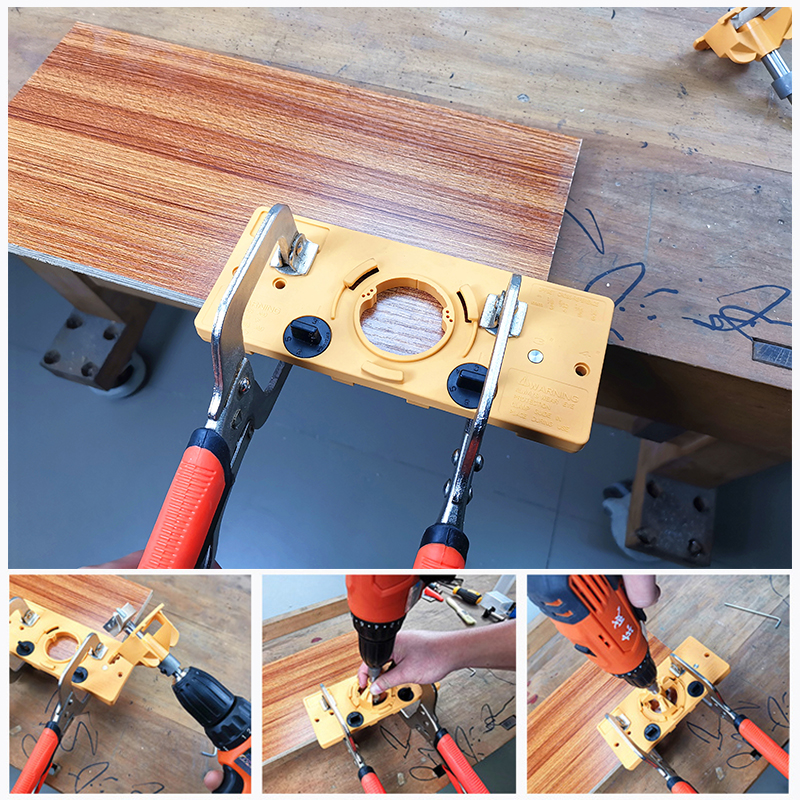 35mm Cabinet Hinge Jig Drilling Wood Hole Saw Drill Locator Guide Tools Set GER