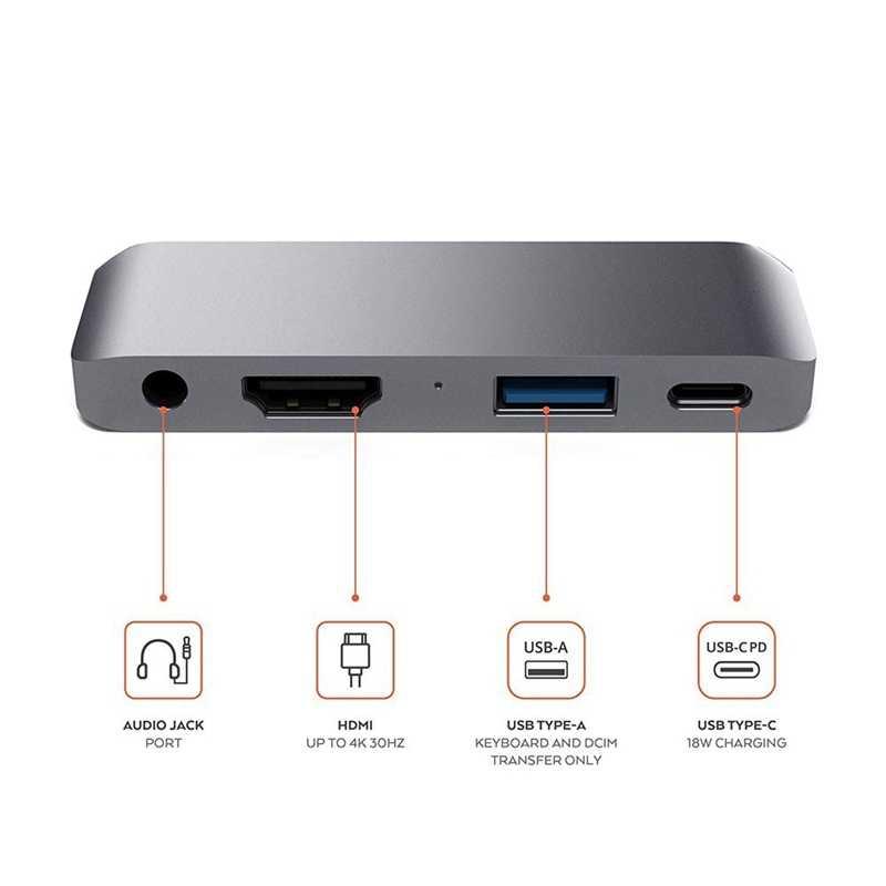 Adapter typu C Hub Mobile Pro usb-c/Pd ładowanie/4K Hdmi/Usb 3.0/3.5Mm gniazdo słuchawkowe-kompatybilny z 2018 Ipad Pro
