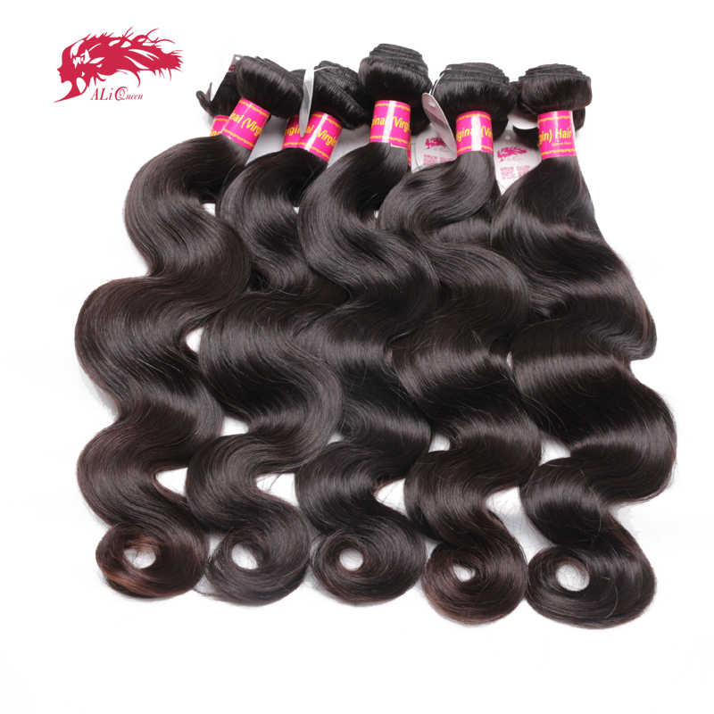 Ali Queen Hair Products Brazilian Hair Weave Bundles 10Pcs/lot Body Wave 100% Human Hair Weaving Natural Color Virgin Hair