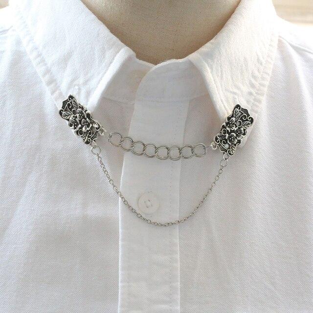 Vintage fleur collier pince Double chaîne Punk boucle Cardigan pull saisir chemise Clips châle broche bohème dame bijoux
