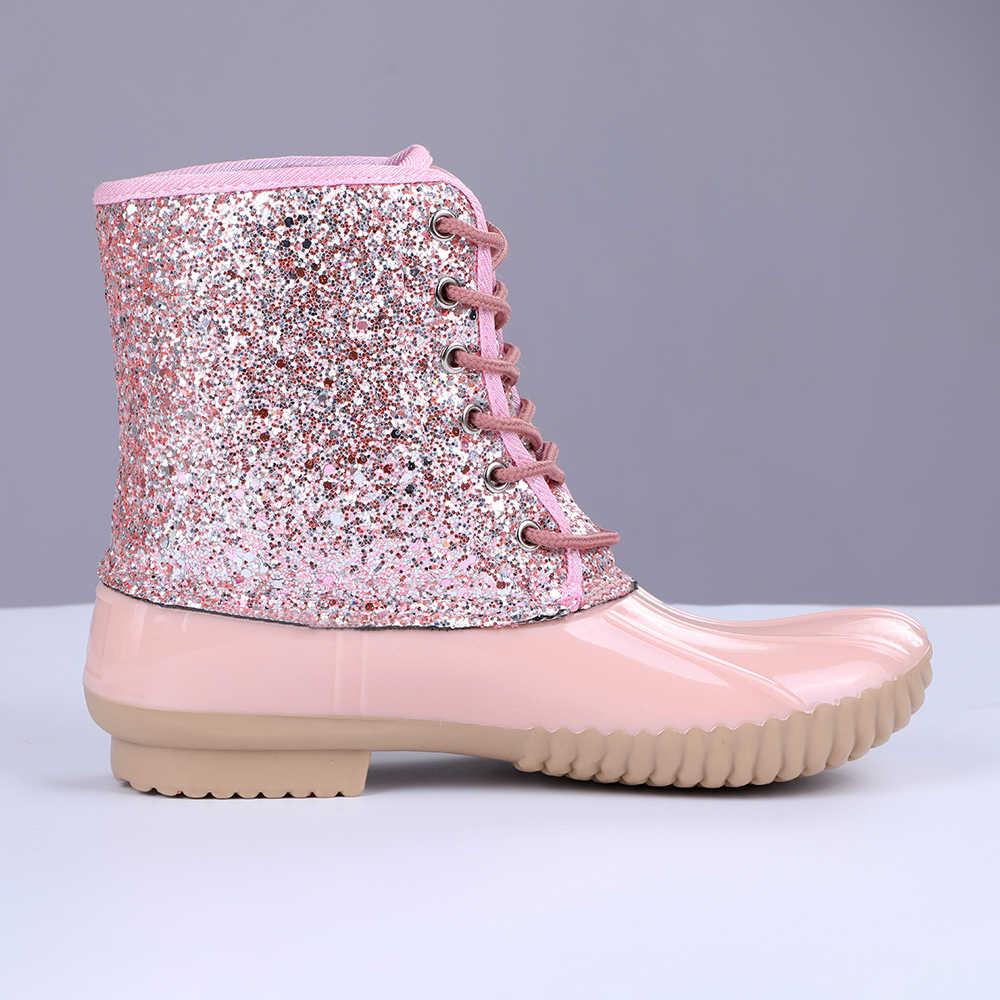 PVC Glitter Botas mujer Casual impermeable encaje-up punta redonda impermeable tobillo nieve Botas señoras Botas femeninas