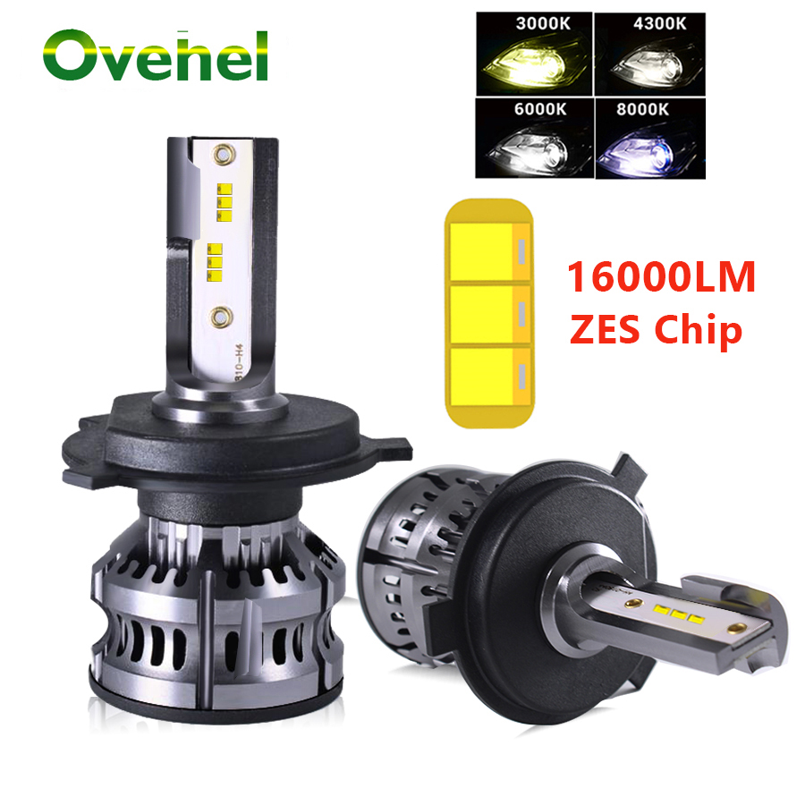 Ovehel H4 LED H7 LED Car Headlight 16000LM ZES <font><b>3000K</b></font> 6000K H1 H3 H8 H11 LED 9005 <font><b>HB4</b></font> 9006 LED HB5 HB3 HB2 Fog Car Lights <font><b>Bulb</b></font> image