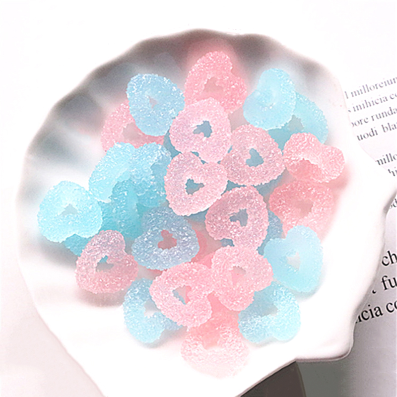 Happy Monkey Slime Additives Resin Hearts Charms New Cute Kawaii DIY Kit Filler For Cloud Clear Crunchy Slime Clay Accessories