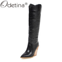 Odetina New Women Crocodile Skin Thick Chunky Strange High Heel Western Cowboy Knee High Boots Pull On Pointed Toe Winter Shoes(China)