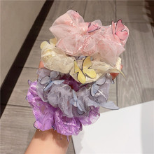 1/2/3Pcs Set Korean Purple Floral Scrunchie Women Butterfly Bow Elastic Hair bands Lace Gum Hair Tie Ponytail Hold Hair Accessor
