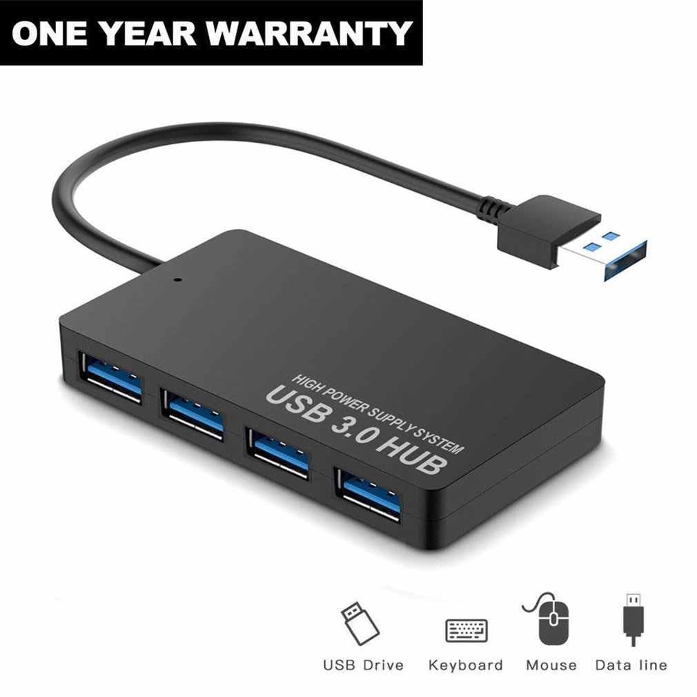رقيقة جدا 4-port USB3.0 HUB عالية السرعة مؤشر ضوء USB محور لأجهزة الكمبيوتر المحمول متعددة