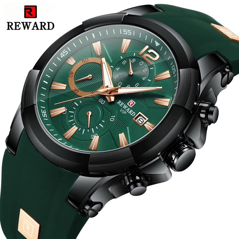 REWARD New Mens Watches Top Luxury Brand Men Silicone Sports Watch Men's Quartz Date Waterproof Wrist Watch Relogio Masculino