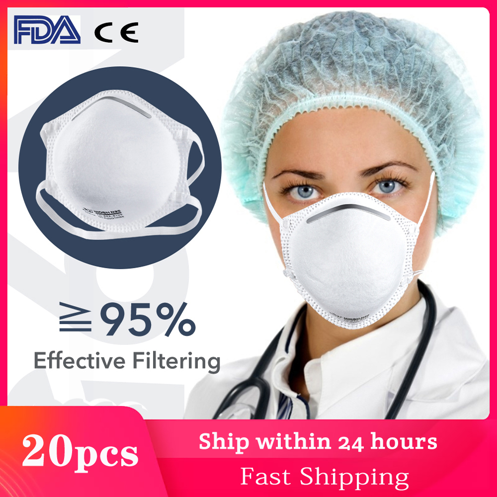 [Fast Delivery] 20pcs N95 Medical Mask FDA Certificate Dustproof Mouth Face Mask Reusable Women Men Dust Winter Warm IN Stock