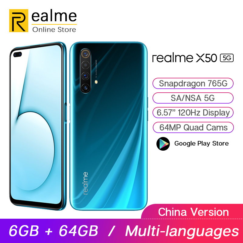 Realme X50 5G telefon komórkowy Snapdragon 765G 6GB 64GB 6.4 ''120Hz wyświetlacz 64MP Quad Cam OPPO VOOC 30W szybkie ładowanie NFC