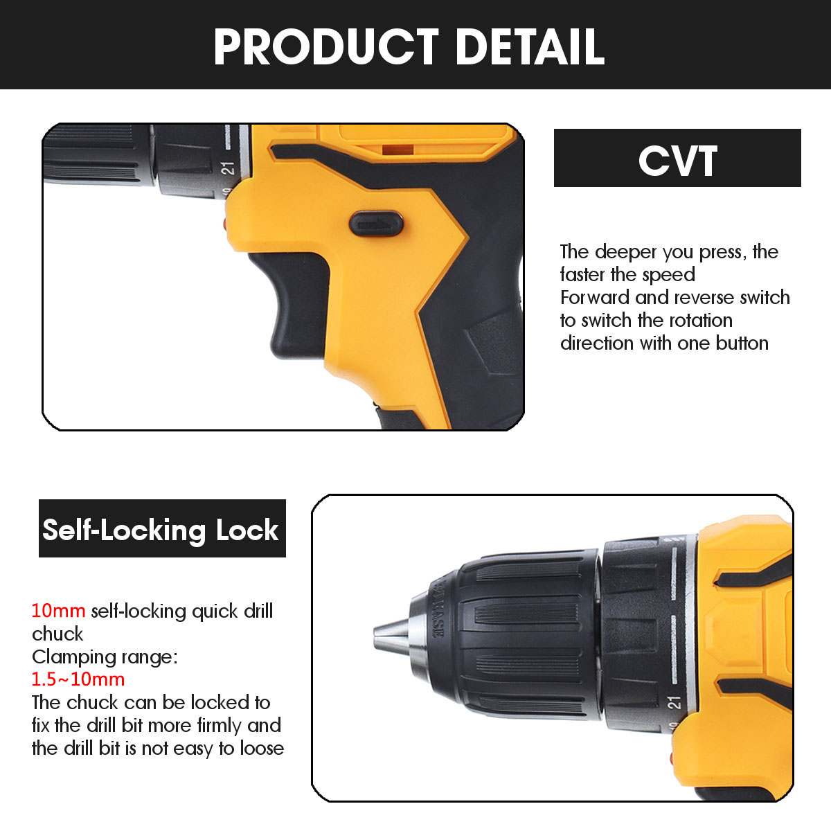 Tools : 18V 3 in 1 Brushless Electric Hammer Drill Electric Screwdriver 10mm Torque Cordless Impact Drill for Makita Battery