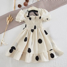 Fashion Girl Party Dresses Mesh Dots Long Sleeve Children Princess Dress Casual Elegant Kids Baby Clothes
