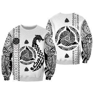 Image 2 - Liumaohua Viking Warrior Tattoo 3D Printed Shirts casual 3D Print Hoodies/Sweatshirt/Zipper Man Women satan Tattoo tops 004