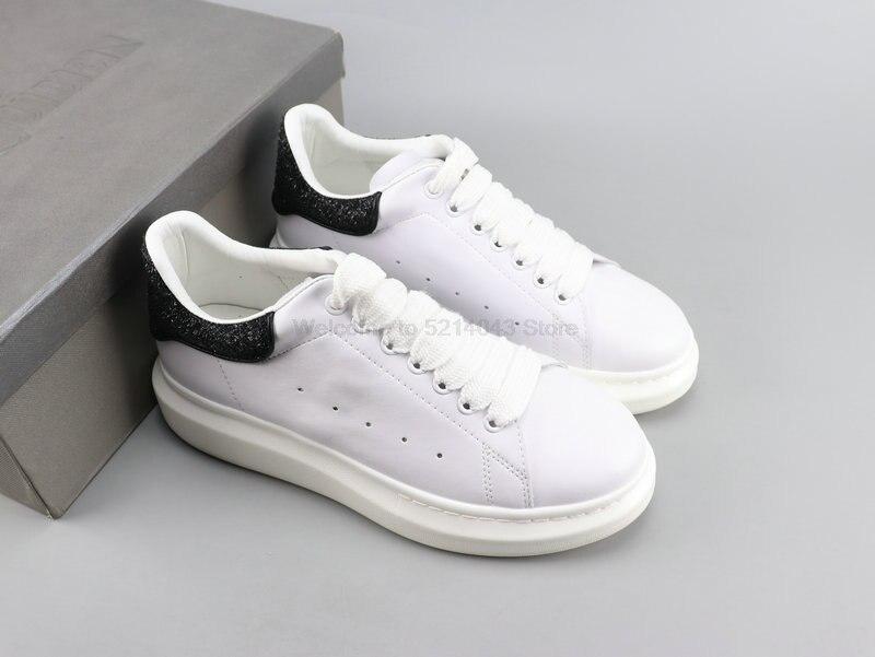 Alexander McQueen Alexander McQueen 3M riflettente gli uomini e le donne con la suola spessa scarpe bianche scarpe casual formato 35-44 nero paillettes 3