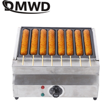 DMWD Commercial Electric Crispy French Hot Dog Lolly Stick Baking Machine 8 Grids Muffin Corn Sausage Grill Waffle Snacks Maker