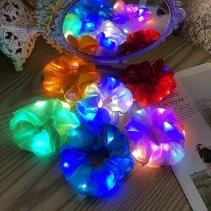 LED Luminous Large Intestine Hair Ring Bright Flashing Satin Hair Ring Nightclub Bar Dance Club Luminous Hair Accessories Lumino