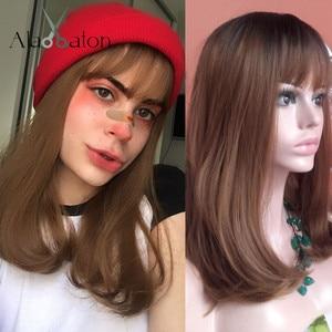 Image 5 - ALAN EATON Synthetic Hair Wig Ombre Brown Light Ash Blonde Medium Wave Wig for Black Women Heat Resistant Fiber Daily False Hair