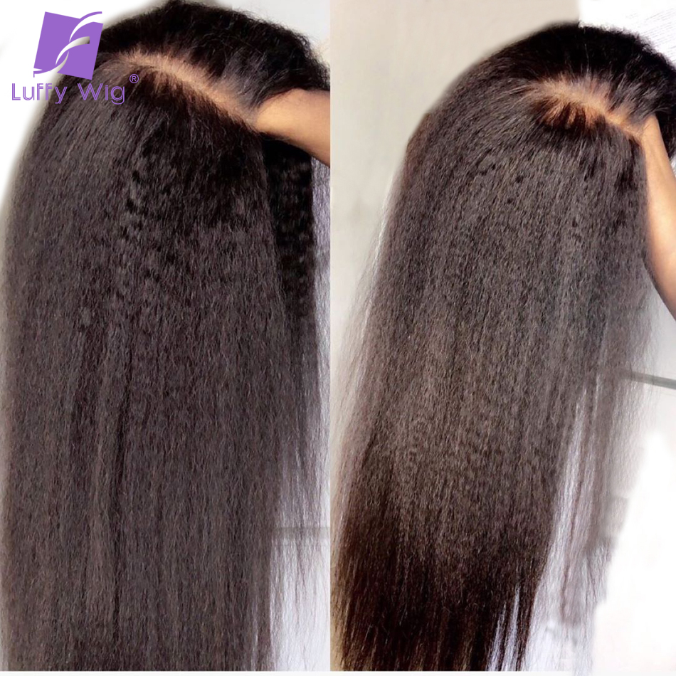 Kinky Straight Wig Remy Brazilian 13x6 Lace Front Human Hair Lace Wigs Preplucked Glueless With Baby Hair Bleached Knots LUFFY