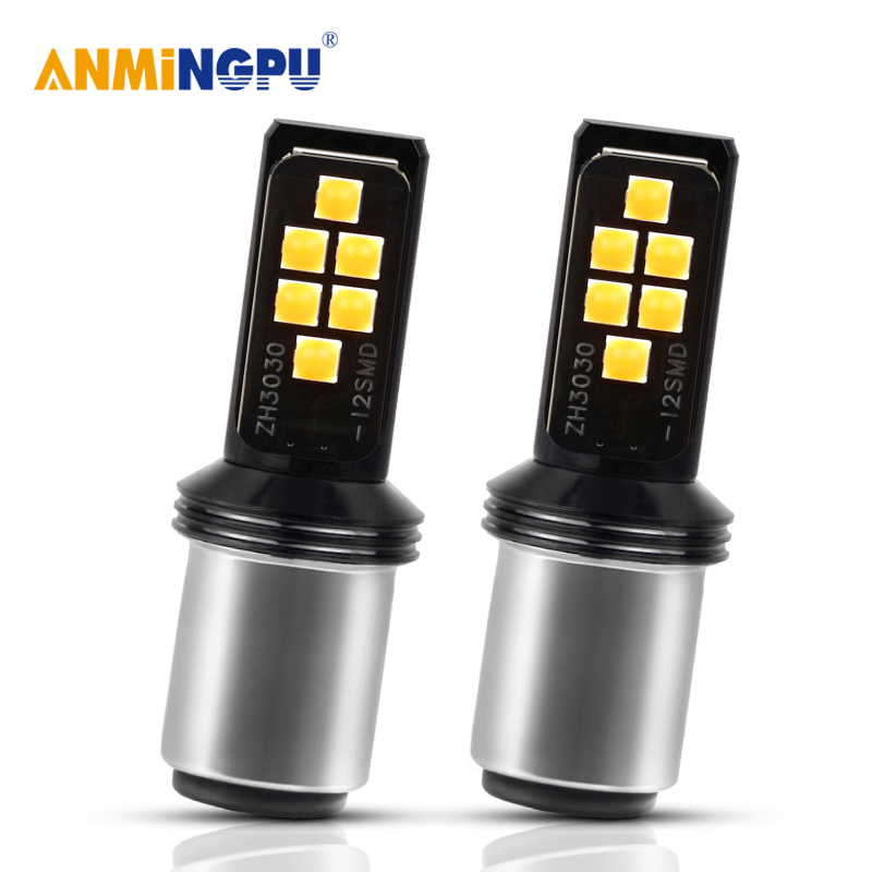 2X 1157 3030 LED BAY15D 12SMD BAU15S 1156 Car Brake Bulb Turn Signal Lights Red