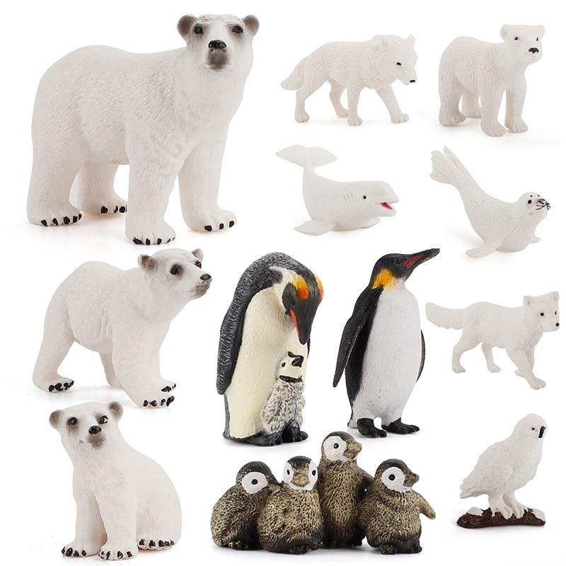 Полар-флиса животное игрушка Набор фигурок для девочек 12 предметов в наборе, реалистичные Пластик Arctic фигурка животного включает в себя пол...