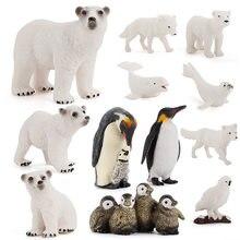 Conjunto de estatuetas de brinquedo animal polar, 12 pçs realista plástico ártico animal figura inclui urso polar família, imperador pinguim