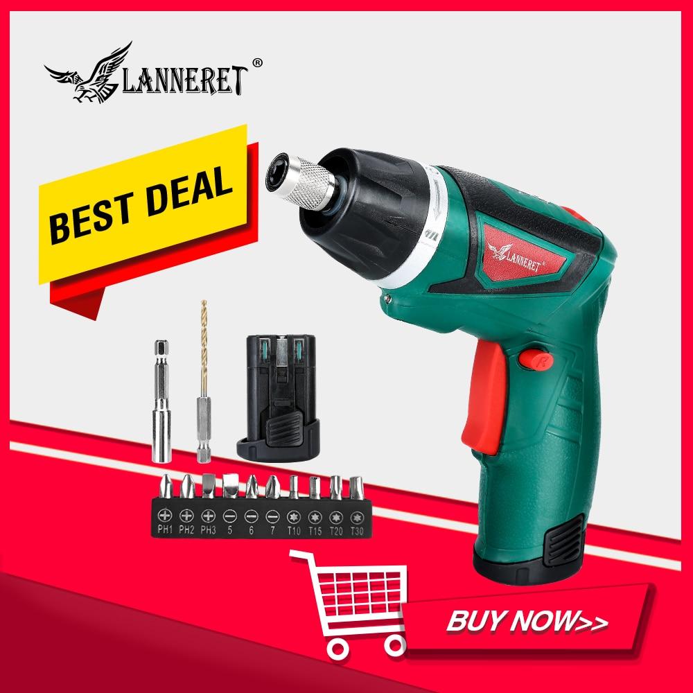 LANNERET 7.2V électrique sans fil tournevis ménage Rechargeable puissance vis autoperçante pistolets avec lumière LED