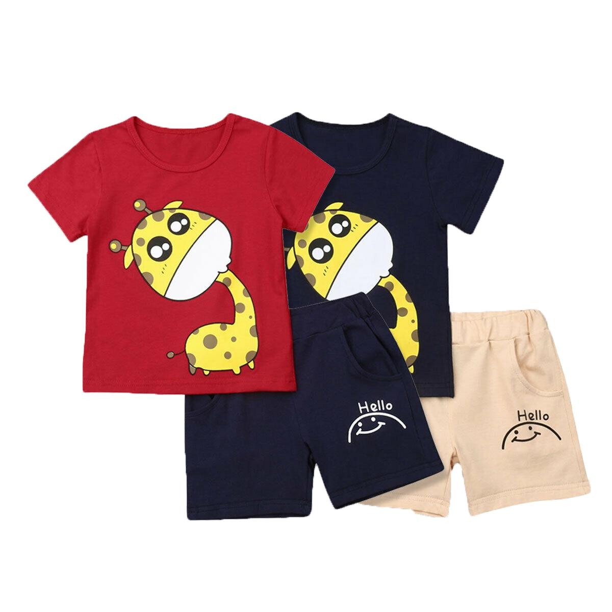 Newborn Baby Boys Summer Giraffe Tops T-shirt Shorts 2Pcs Outfits Set Clothes