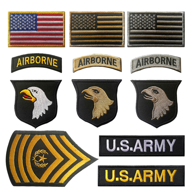 US 101 Airborne Eagle Armband Tactical Embroidery Velcro Patches US ARMY Hook Chapter Magic Paste Chest Epaulette Bag Sticker