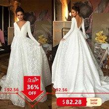 로브 드 mariee 빈티지 긴 소매 레이스 새틴 웨딩 드레스 결혼식을위한 섹시한 깊은 브이 넥 Backless 신부 드레스