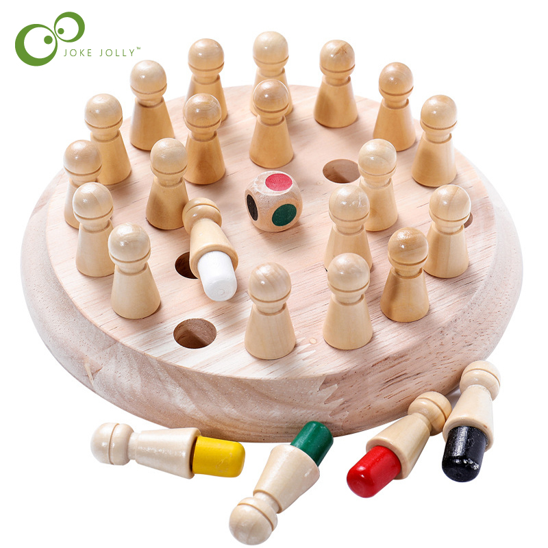 Montessori For Kids Wooden Color Memory Match Stick Chess Game Toy Children 3D Puzzle Educational Gift Family Casual Game ZXH