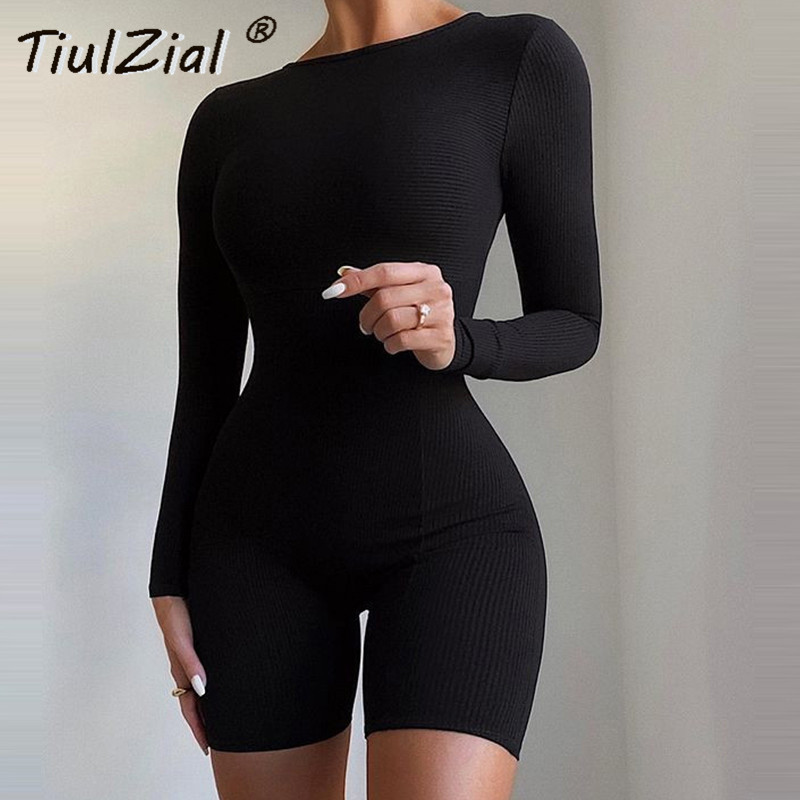 TiulZial Long Sleeve Knitted Bodycon Playsuit Romper White Short Sport Overall Women Home Back Zipper Outfit Black White