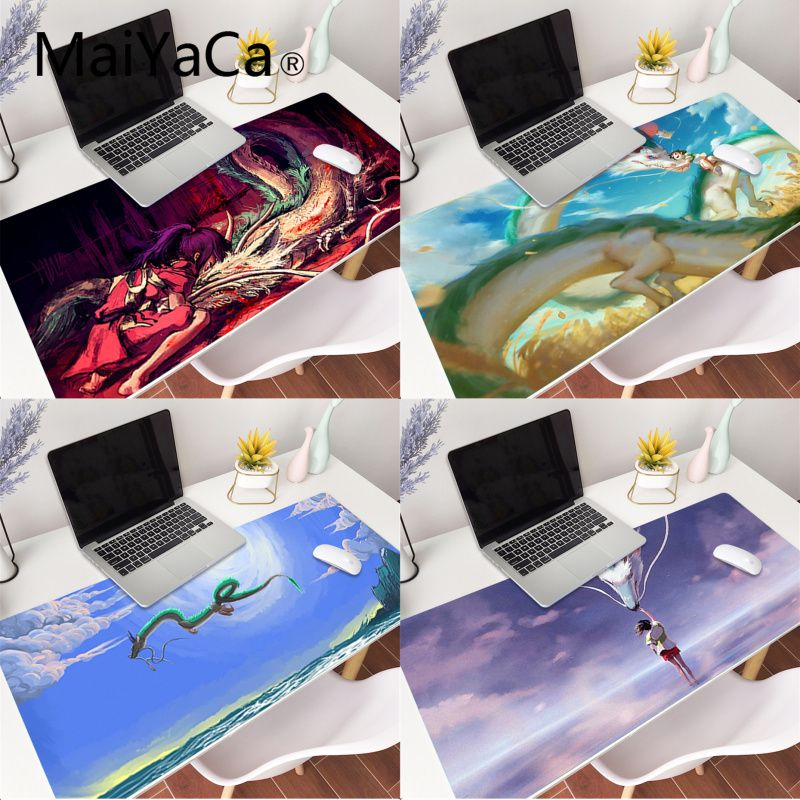 MaiYaCa Anime Spirited Away Dragon Rubber Pad to Mouse Game Gaming Mouse Pad Large Deak Mat 900x400mm for overwatch/cs go