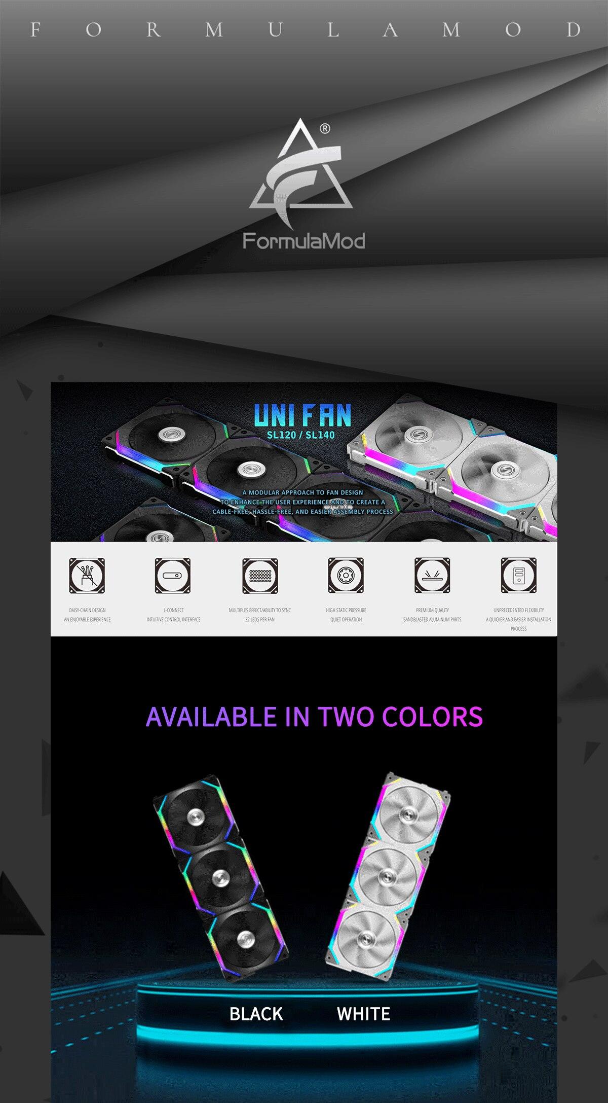 Lian Li UNI FAN SL120 SL140 With Controller High Stati Pressure 120/140mm FAN Software Smart PWM Control SYNC Black / White Computer Fan
