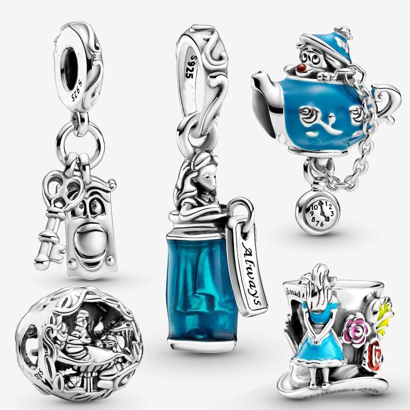 100% sterling silver 925 women fashion jewelry pendant Alice in Wonderland charm bead fit original pandora bracelet making gift