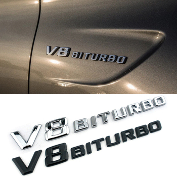 V8 BITURBO Letter Logo For BMW Audi Maserati Mercedes Benz AMG S63 GT C63 C E S Class 4Matic Fender Side Sticker 3D Accessories image