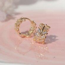 14k banhado a ouro folhas de cristal brincos para mulher novo design jóias s925 prata agulha diamante brincos