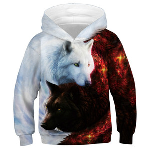 Image 4 - Wolf 3D Print Boys Girls Hoodies Teens Spring Autumn Outerwear Kids Hooded Sweatshirt Clothes Children Long Sleeve Pullover Tops