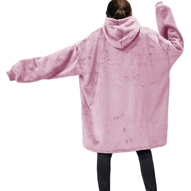 Winter Oversized Hoodies Women Fleece Warm TV Blanket with Sleeves Pocket Flannel Plush Thick Sherpa Giant Hoody Long Sweatshirt 3