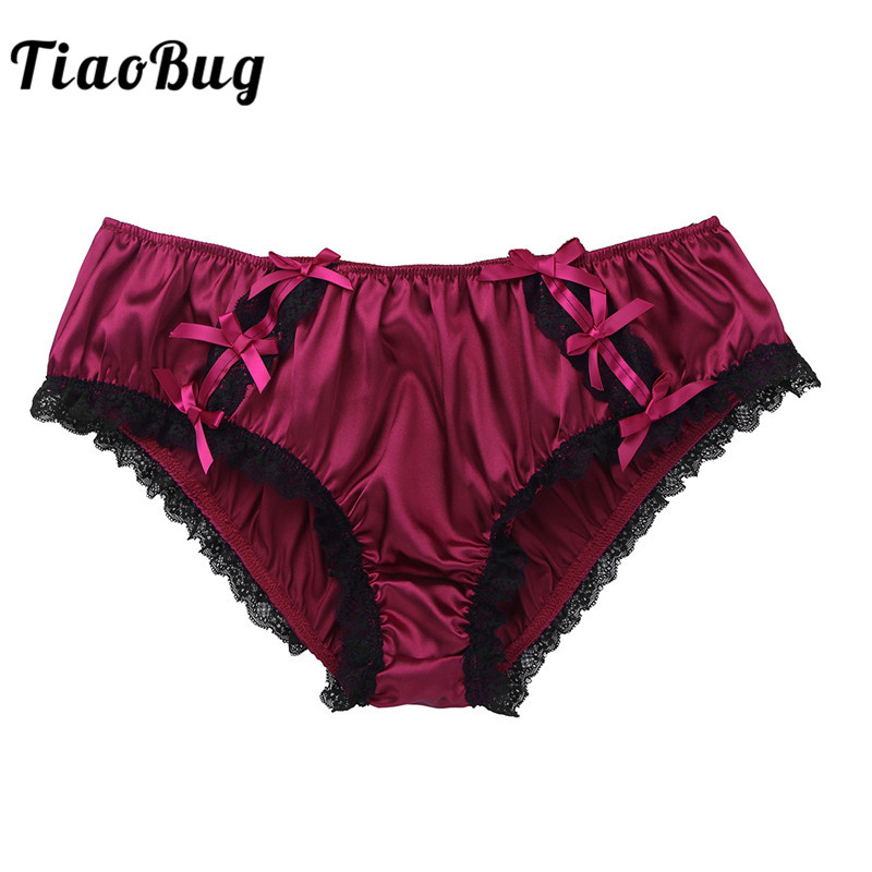 TiaoBug <font><b>Men</b></font> <font><b>Shiny</b></font> Satin Lingerie Sissy Panties Floral Lace Low Rise Stretchy Bikini Briefs <font><b>Sexy</b></font> <font><b>Gay</b></font> Swimwear Male <font><b>Underwear</b></font> image
