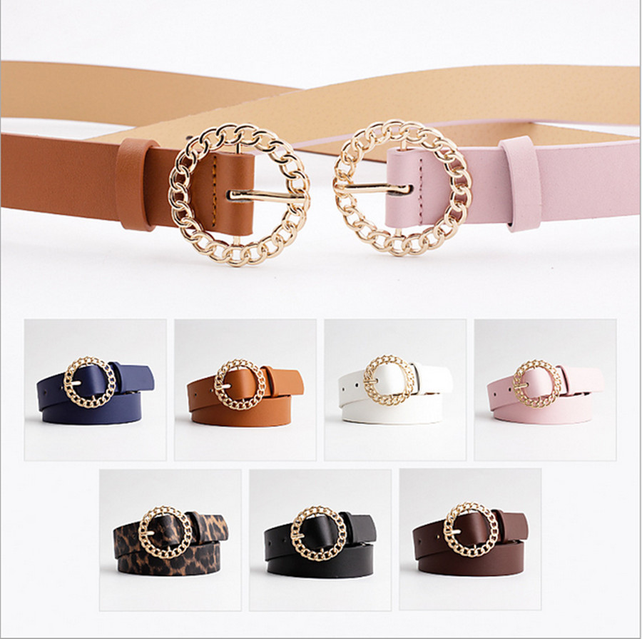 2020 New Ladies Personality Round Buckle Belt PU Fashion Casual Decorative Jeans Dress Ladies Belt