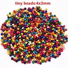 Petites perles en bois de couleurs mélangées, 4mm, 1000 pièces/lot, pour la fabrication de bracelets, de colliers ou d'accessoires de bijouterie faits à la main, DIY, 4mm