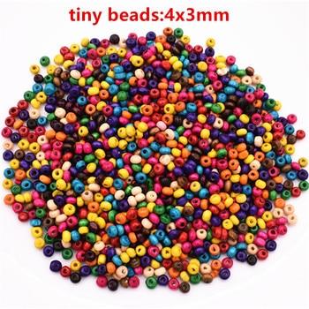 Маленькие деревянные бусины, 4 мм, 1000 шт./лот, разноцветные, свободные бусины для изготовления браслета, ожерелья, DIY, ювелирные аксессуары ру...