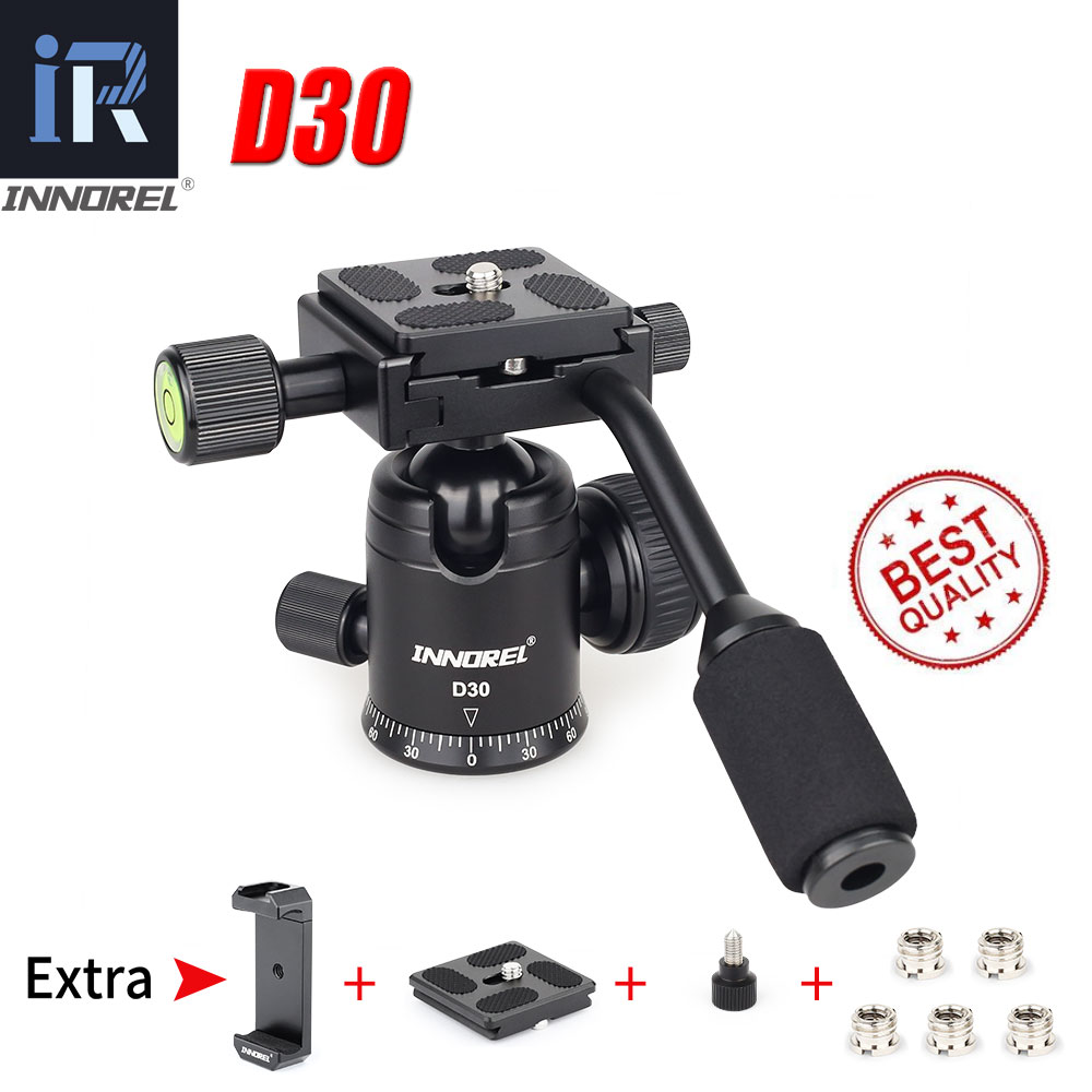 INNOREL D30 portable tripod head comes with a panoramic ball head with a detachable handle. For digital SLR cameras