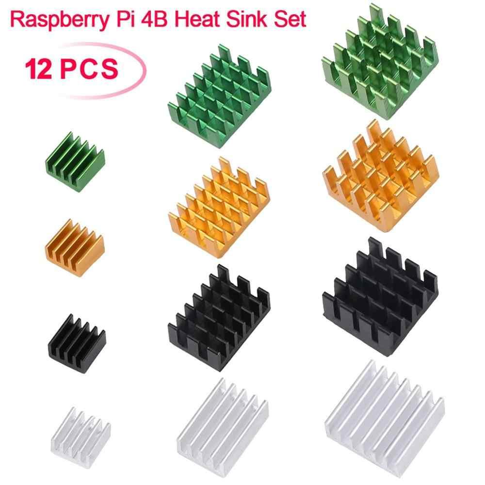 12pcs Raspberry Pi 4B del Dissipatore di Calore Set, radiatore di alluminio Di Raffreddamento Kit di Raffreddamento Verde Giallo Bianco Nero per Raspberry Pi 4B