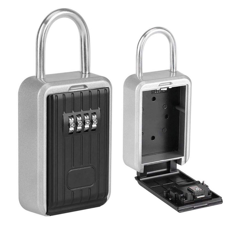 Key Storage Lock Box With 4-Digit Combination Hanging Key Safe Box For Indoor Outdoor FKU66