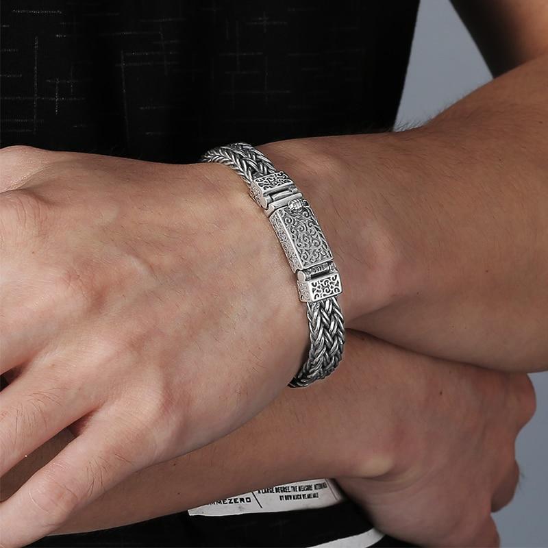V. YA Handmade ciężki srebrny bransoletka 925 Sterling srebrne bransoletki bransoletki męskie Biker biżuteria bileklik 17 cm 22 cm w Bransoletki łańcuszkowe od Biżuteria i akcesoria na  Grupa 2