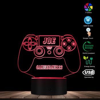 Custom Gamer Name 3D LED Table Night Light Games Console Design Table Lamp Optical Illusion Novelty Light 7 Colors Changing