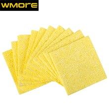 WMORE 10pcs/set soldering iron cleaner weldin solder tips 53*53mm cleaning yellow SPonge soldering station tip cleaner sponges