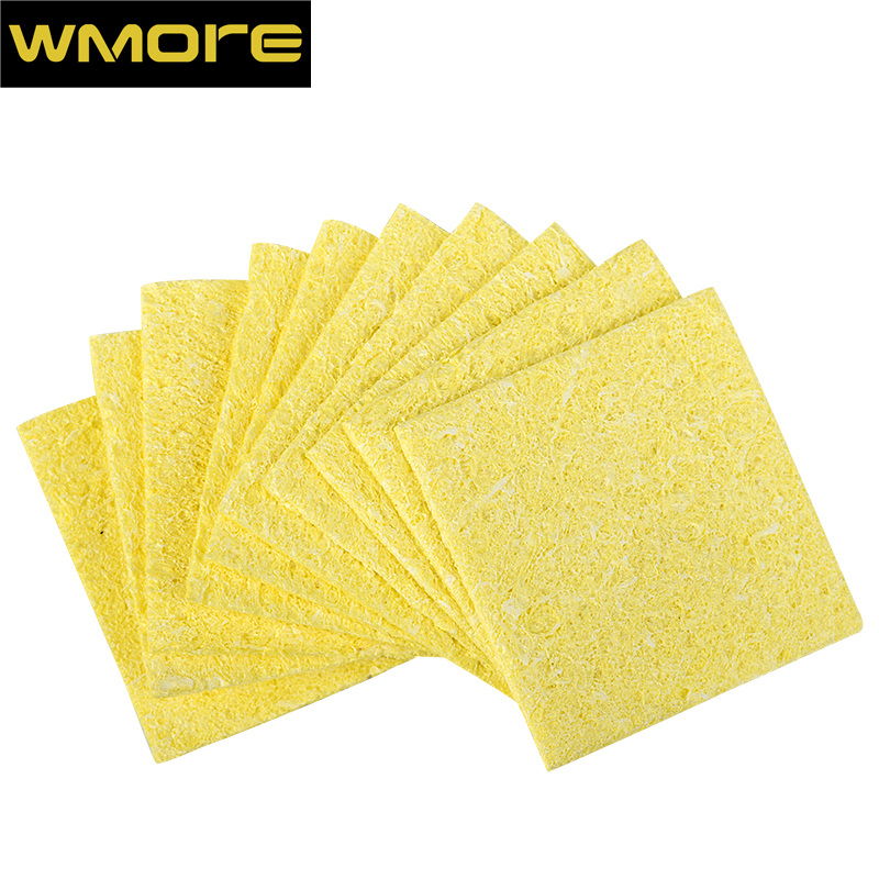 WMORE 10pcs/set Soldering Iron Cleaner Weldin Solder Tips 53*53mm Cleaning Yellow SPonge Soldering Station Tip Cleaner Sponges